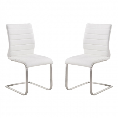 Armen Living Fusion Contemporary Side Chair In White and Stainless Steel