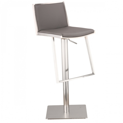 Ibiza Adjustable Brushed Stainless Steel Barstool in Gray Leatherette