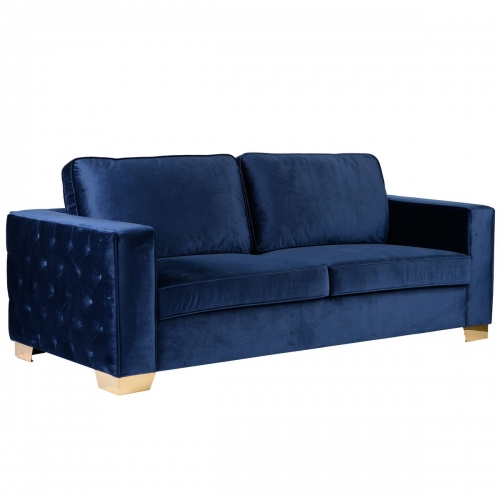Isola Sofa In Blue Velvet With Gold Metal Legs