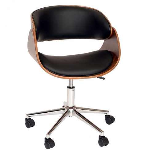 Julian Modern Chair In Black And Walnut Veneer Back and Chrome