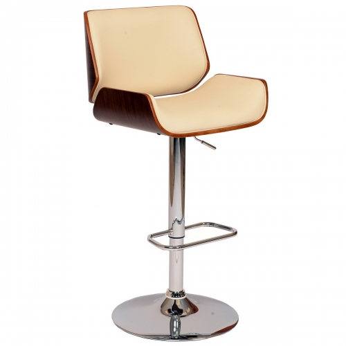 London Swivel Barstool In Cream Leatherette/ Walnut Veneer and Chrome Base