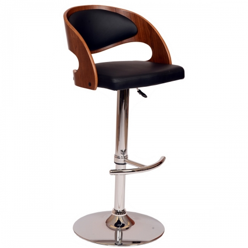 Malibu Swivel Barstool In Black Leatherette/ Walnut Veneer and Chrome Base