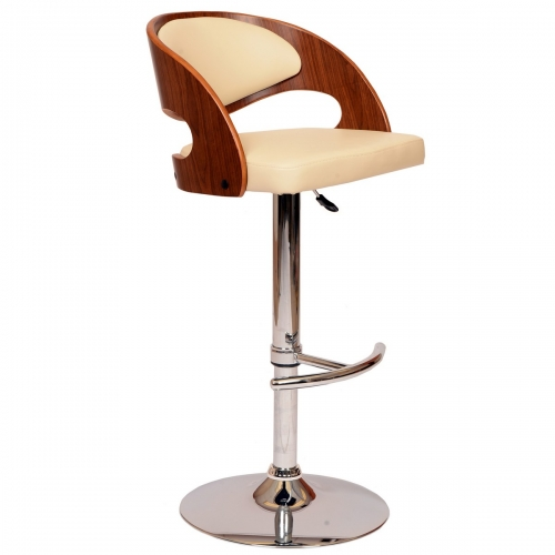 Malibu Swivel Barstool In Cream Leatherette/ Walnut Veneer and Chrome Base