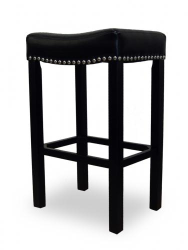 Tudor 30-Inch Stationary Barstool - Black Bonded Leather/Chrome Nails
