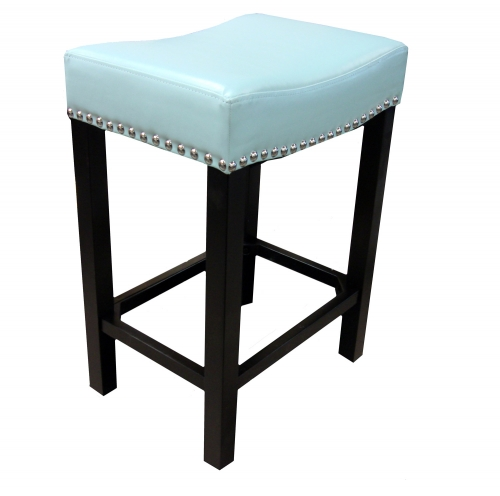 Tudor 26-Inch Stationary Barstool - Sky Blue Bonded Leather/Chrome Nails