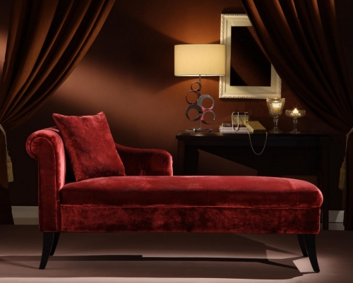 Patterson Maroon Chenille Chaise