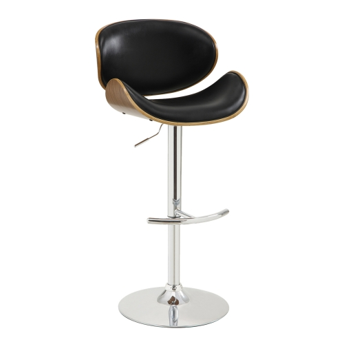Naples Bar Stool - Black Leatherette/Walnut Veneer Back