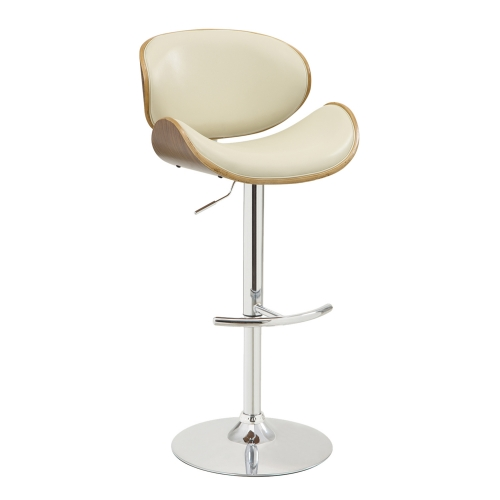 Naples Bar Stool - Cream Leatherette/Walnut Veneer Back