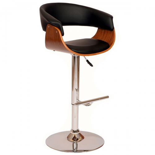 Paris Swivel Barstool In Black Leatherette/ Walnut Veneer and Chrome Base