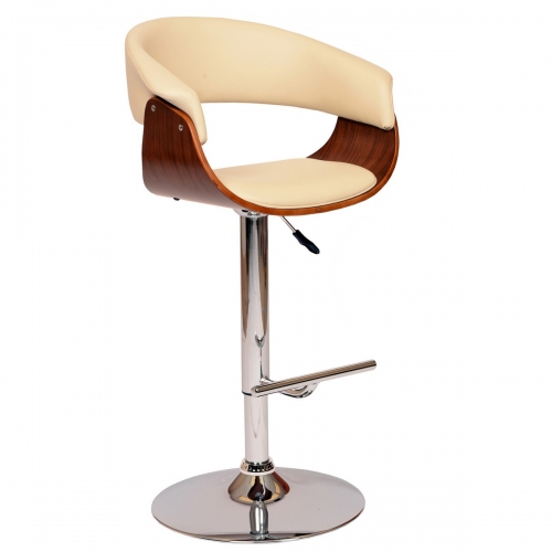 Paris Swivel Barstool In Cream Leatherette/ Walnut Veneer and Chrome Base