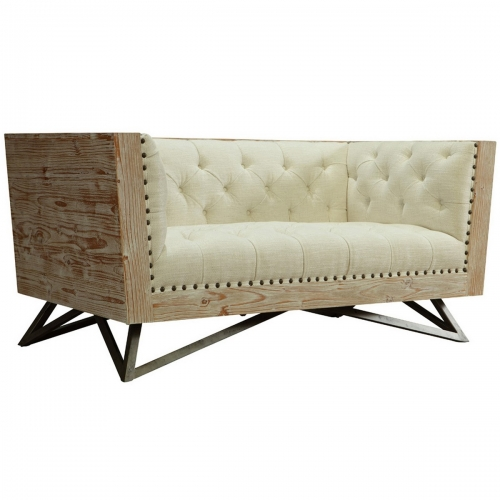 Regis Cream Loveseat With Pine Frame And Gunmetal Legs