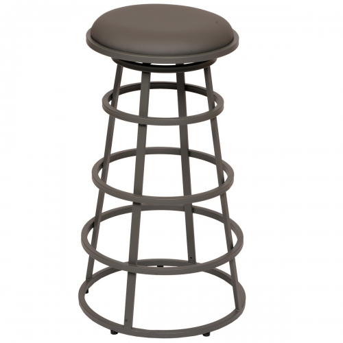 Ringo 26-inch Backless Gray Metal Barstool in Gray Leatherette