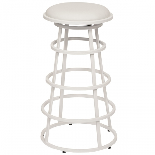Ringo 26-inch Backless White Metal Barstool in White Leatherette