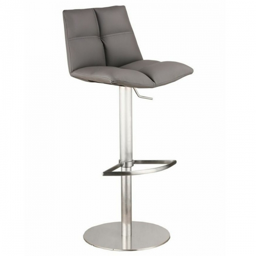 Roma Adjustable Brushed Stainless Steel Barstool in Gray Leatherette