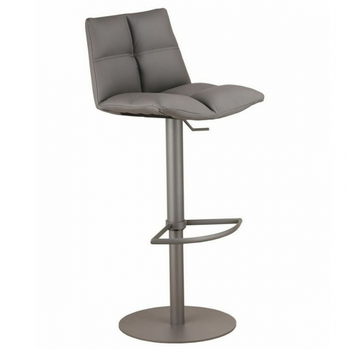 Roma Adjustable Gray Metal Barstool in Gray Leatherette