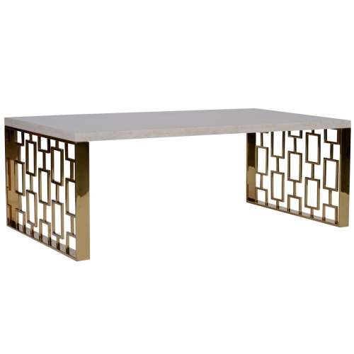Skyline Coffee Table With White Top - Gold Metal Base