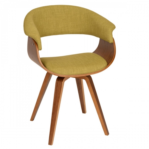 Summer Modern Chair In Green Fabric and Walnut Wood