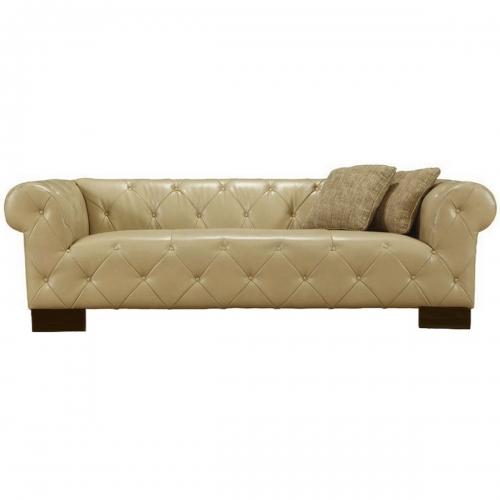 Tuxedo Beige Sofa In Bonded Leather