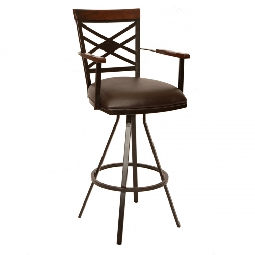 Zoe 26-inch Transitional Arm Barstool In Coffee and Auburn Bay Metal