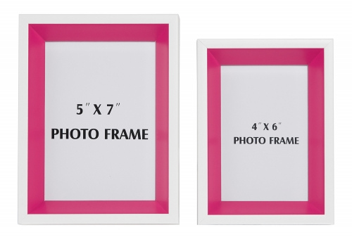 Obie 2 PC Set Photo Frame - White/Pink