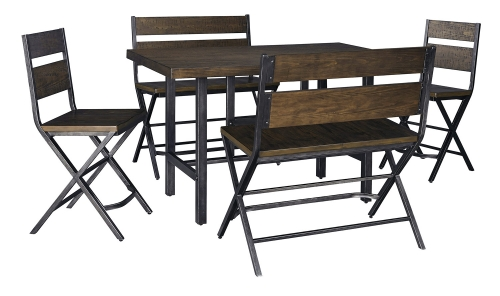 Kavara Counter Height Dining Set with Double Stool