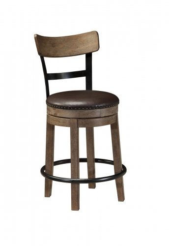 Pinnadel Upholstered Swivel Counter Stool
