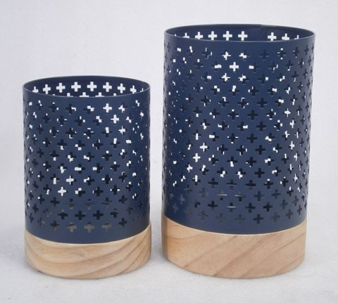 Daichi Candle Holder - Set of 2 - Navy/Natural