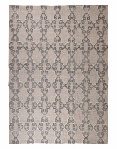 Patterned Large Rug - Gray/White