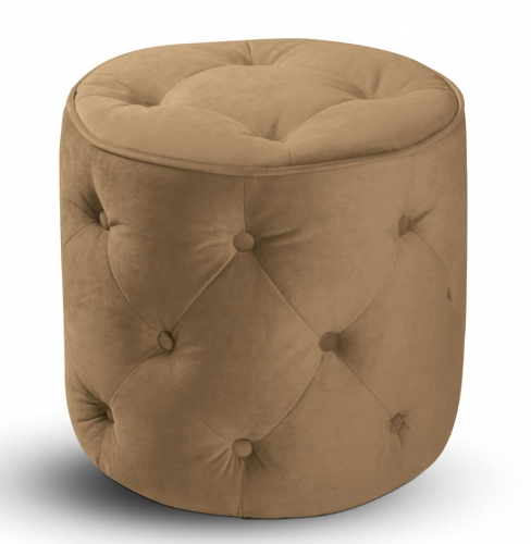 Curves Tufted Round Ottoman - Coffee