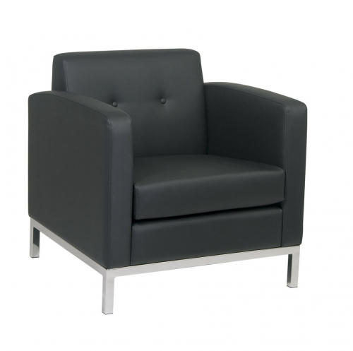 Avenue Six Wall Street Arm Chair - Black Vinyl