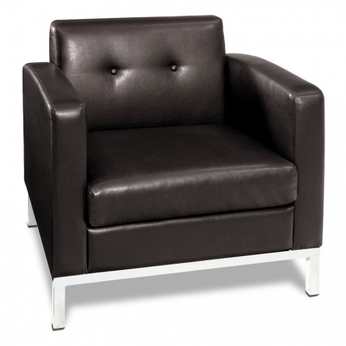 Wall Street Arm Chair - Espresso Faux Leather