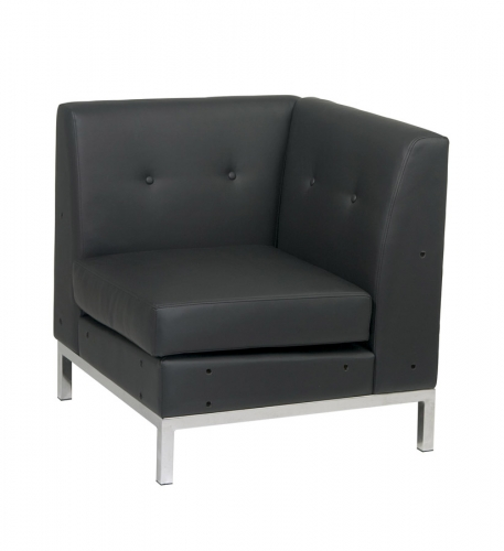 Wall Street Corner Chair - Black Vinyl