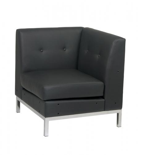 Avenue Six Wall Street Corner Chair - Black Vinyl