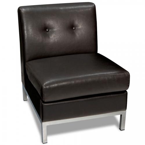 Avenue Six Wall Street Armless Chair - Espresso Faux Leather