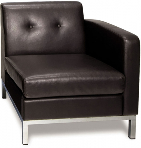 Avenue Six Wall Street Right Arm Chair - Espresso Faux Leather