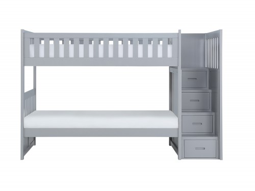 Orion Twin over Twin Bunk Bed with Reversible Step Storage - Gray