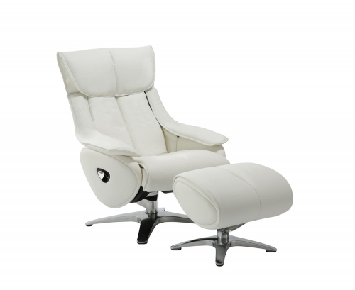 Eton Pedestal Recliner Chair with Adjustable Head Rest and Adjustable Ottoman - Capri White/leather match