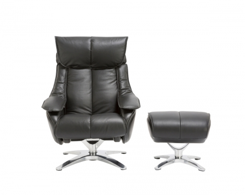 Eton Pedestal Recliner Chair with Adjustable Head Rest and Adjustable Ottoman - Capri Black/leather match