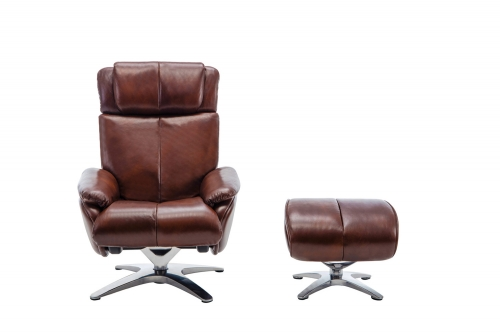 Emery Pedestal Recliner Chair with Adjustable Head Rest and Adjustable Ottoman - Capri Brown/leather match