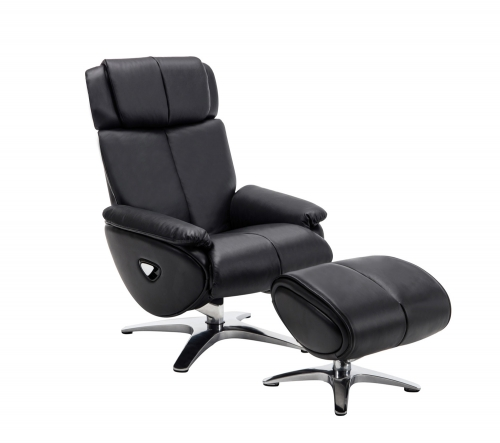Emery Pedestal Recliner Chair with Adjustable Head Rest and Adjustable Ottoman - Capri Black/leather match