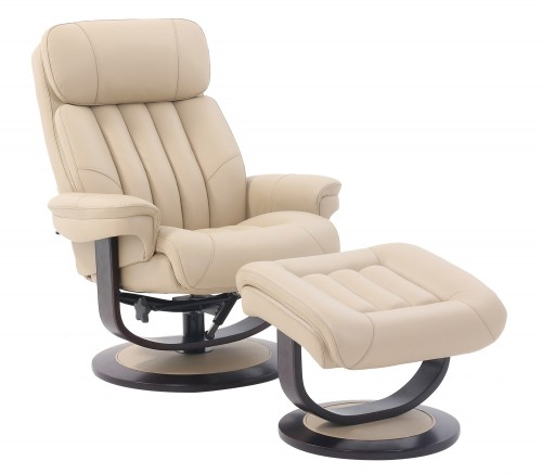 Oakleigh Pedestal Recliner Chair and Ottoman - Hilton Ivory/Leather match