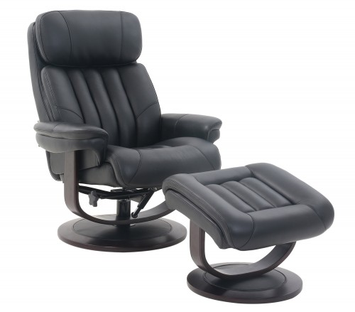 Oakleigh Pedestal Recliner Chair and Ottoman - Hilton Black/Leather match