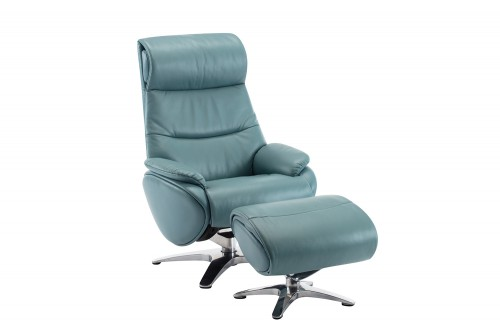 Adler Pedestal Recliner Chair and Ottoman - Capri Blue/Leather match
