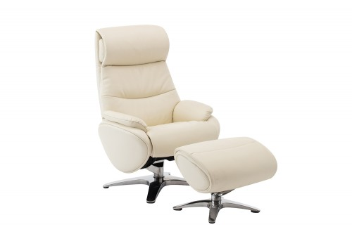 Adler Pedestal Recliner Chair and Ottoman - Capri White/Leather match