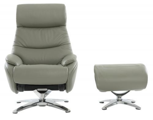 Adler Pedestal Recliner Chair/Ottoman - Capri Gray/Leather Match