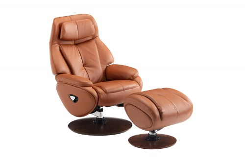 Marjon Pedestal Recliner Chair and Ottoman - Capri Tobacco/Leather match