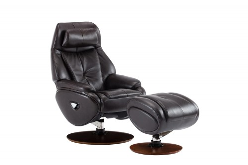 Marjon Pedestal Recliner Chair and Ottoman - Janie Chocolate/Leather match