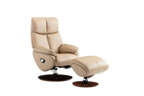 Alicia Pedestal Recliner Chair and Ottoman - Capri Nomad/Leather match