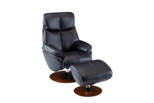 Alicia Pedestal Recliner Chair and Ottoman - Capri Black/Leather match