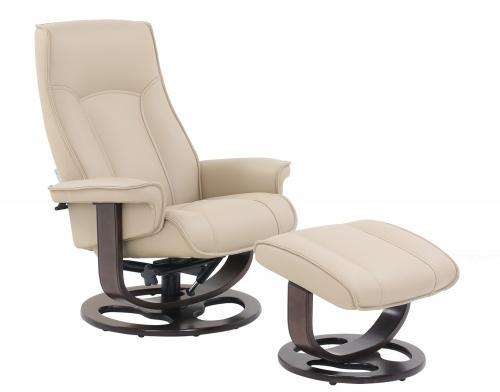 Austin Pedestal Recliner Chair/Ottoman - Hilton Ivory/Leather Match